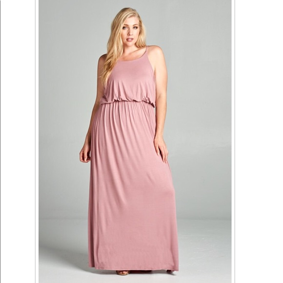 4342f1eb767 1X Mauve Dusty Rose Plus Size Dress Maxi Dress